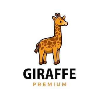 Ilustración de icono de logo de dibujos animados lindo jirafa