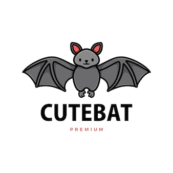 Ilustración de icono de logo de dibujos animados lindo murciélago