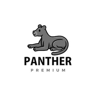 Ilustración de icono de logo de dibujos animados lindo pantera