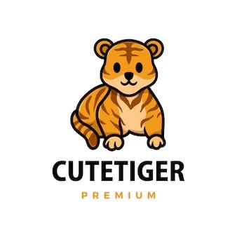 Ilustración de icono de logo de dibujos animados lindo tigre