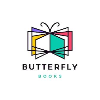 Ilustración de icono de logo de libros de mariposa