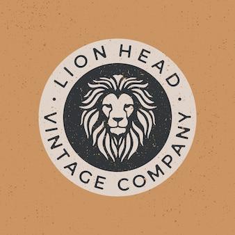 Ilustración de icono de logo vintage de cabeza de león