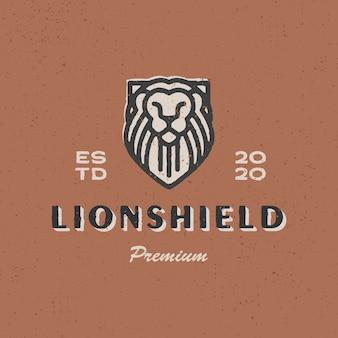 Ilustración de icono de logo vintage de escudo de león
