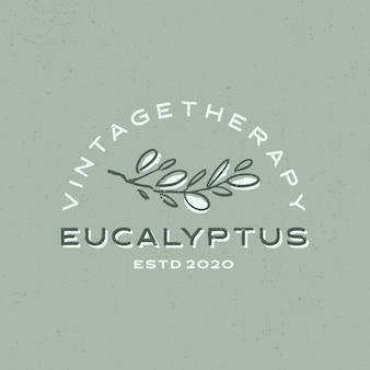 Ilustración de icono de logo vintage de eucalipto