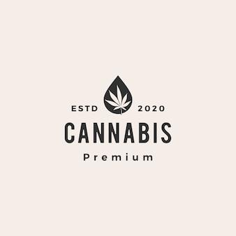 Ilustración de icono de logo vintage de hipster de aceite de cannabis