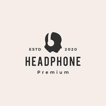 Ilustración de icono de logo vintage hipster de auriculares