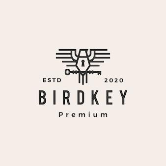 Ilustración de icono de logo vintage de hipster clave de pájaro
