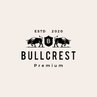 Ilustración de icono de logo vintage de hipster de escudo de bull