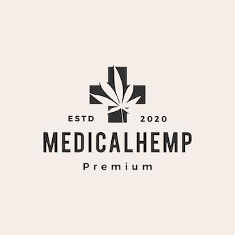 Ilustración de icono de logo vintage de hipster médico de cannabis