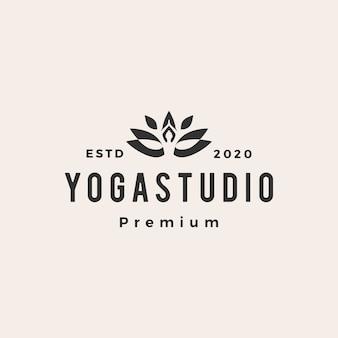 Ilustración de icono de logo vintage de hipster de yoga