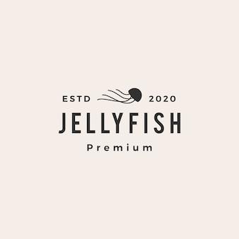 Ilustración de icono de logo vintage de jelly fish hipster