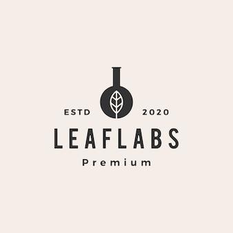 Ilustración de icono de logo vintage de laboratorio de laboratorio de hoja laboratorios
