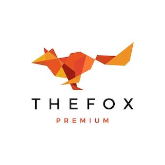 Ilustración de icono de logotipo de baja poli geométrica fox