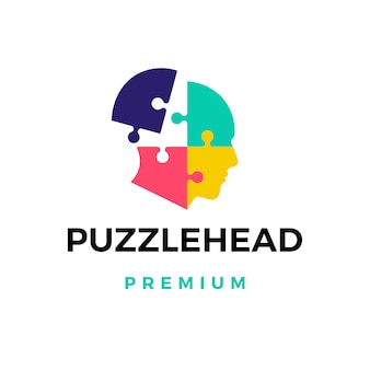 Ilustración de icono de logotipo de cabeza de rompecabezas