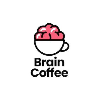 Ilustración de icono de logotipo de café de cerebro