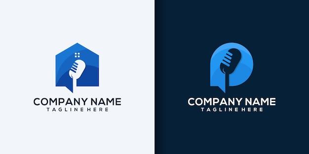Ilustración de icono de logotipo de casa de micrófono de podcast