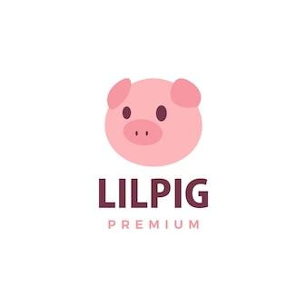 Ilustración de icono de logotipo de cerdo lindo