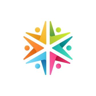 Ilustración de icono de logotipo colorido de personas