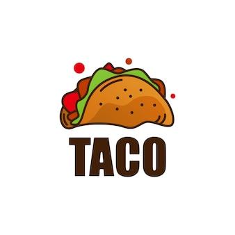 Ilustración de icono de logotipo de comida de taco