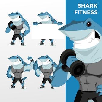Ilustración de icono de logotipo de conjunto de caracteres de mascota de fitness de tiburón