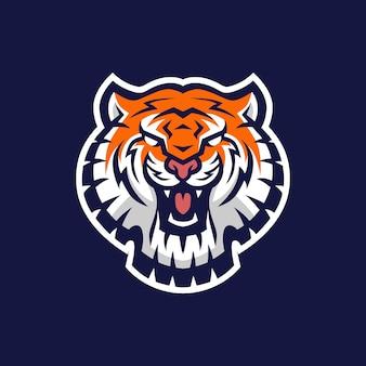 Ilustración de icono de logotipo de deporte de cabeza de tigre e