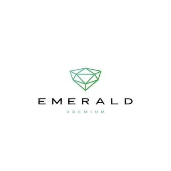 Ilustración de icono de logotipo de diamante esmeralda