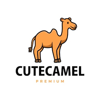 Ilustración de icono de logotipo de dibujos animados lindo camello