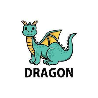 Ilustración de icono de logotipo de dibujos animados lindo dragón