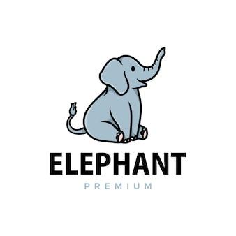 Ilustración de icono de logotipo de dibujos animados lindo elefante