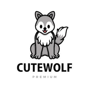 Ilustración de icono de logotipo de dibujos animados lindo lobo