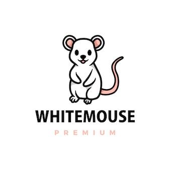 Ilustración de icono de logotipo de dibujos animados lindo ratón blanco