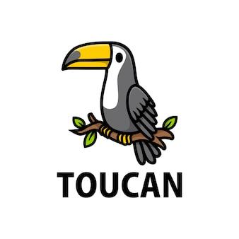 Ilustración de icono de logotipo de dibujos animados lindo tucán