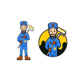 Ilustración de icono de logotipo de dibujos animados de mascota de trabajador de pintura y reparación