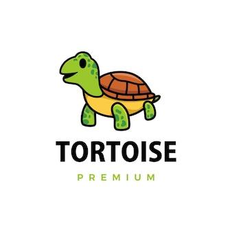 Ilustración de icono de logotipo de dibujos animados de tortuga linda