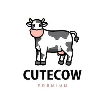 Ilustración de icono de logotipo de dibujos animados de vaca linda