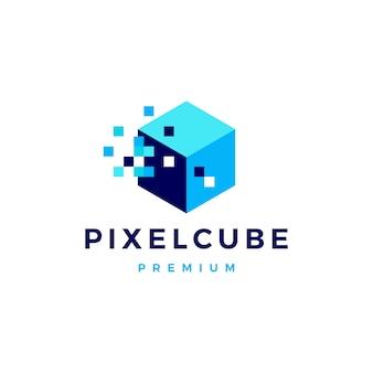 Ilustración de icono de logotipo digital de caja de cubo de píxel