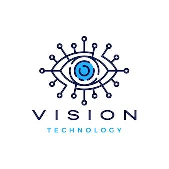 Ilustración de icono de logotipo digital de tecnología de visión ocular