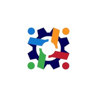 Ilustración de icono de logotipo de engranaje de engranajes de personas