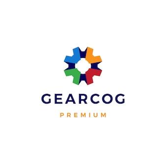 Ilustración de icono de logotipo de engranajes de engranajes