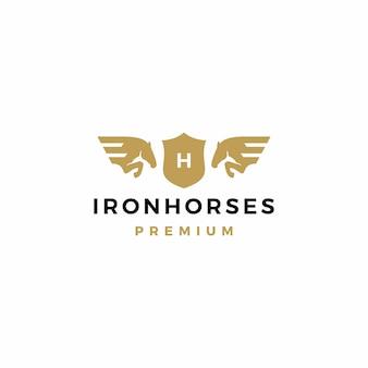 Ilustración de icono de logotipo de escudo de caballo