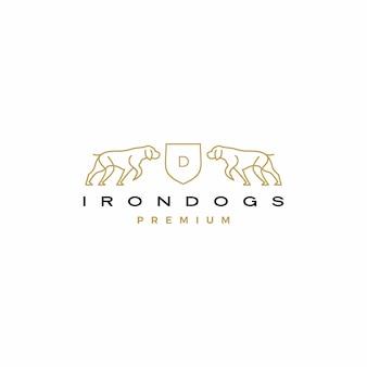 Ilustración de icono de logotipo de escudo de perro