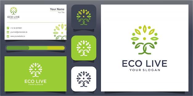Ilustración de icono de logotipo de estilo de arte de línea de árbol humano