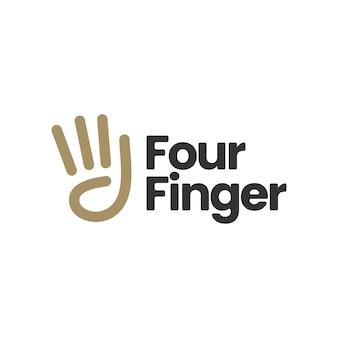 Ilustración de icono de logotipo de gesto de mano de cuatro dedos