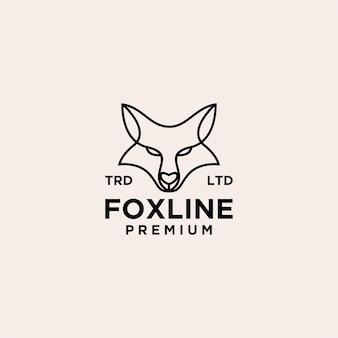 Ilustración de icono de logotipo de línea vintage de cabeza de zorro
