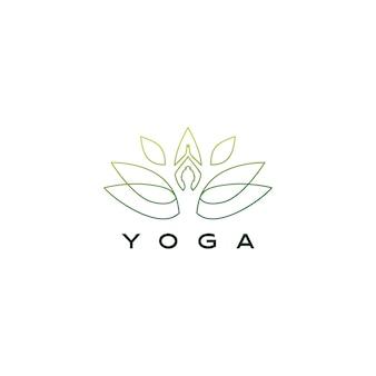 Ilustración de icono de logotipo de loto de hoja de yoga