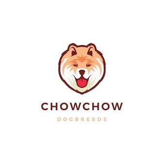 Ilustración de icono de logotipo de perro chow chow
