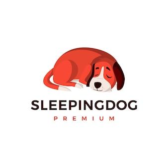 Ilustración de icono de logotipo de perro durmiendo