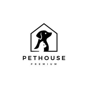 Ilustración de icono de logotipo de perro gato mascota casa hogar