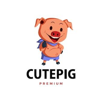 Ilustración de icono de logotipo de personaje de mascota de pulgar arriba de cerdo