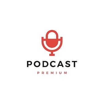 Ilustración de icono de logotipo de podcast de micrófono